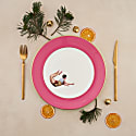 Raspberry Pink Trapeze Boy Dinner Plate image