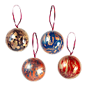 Hand Marbled Baubles Set of 4 image