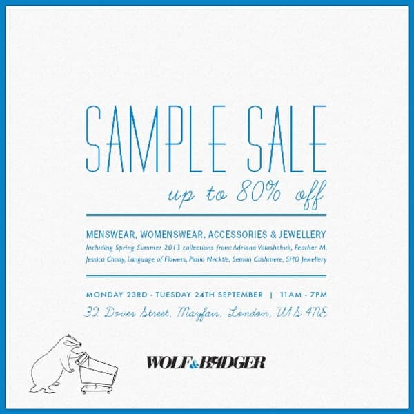 Wolf & Badger Sample Sale- Mon 23rd and Tue 24th Sept- 2