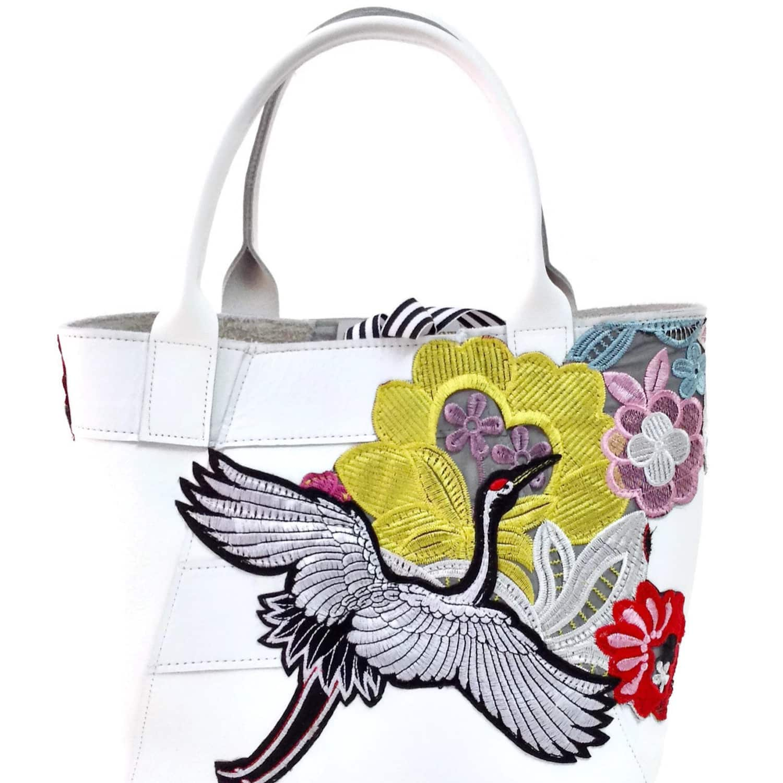 A Line Tote Bag In White Crane Flower Angela Valentine Handbags