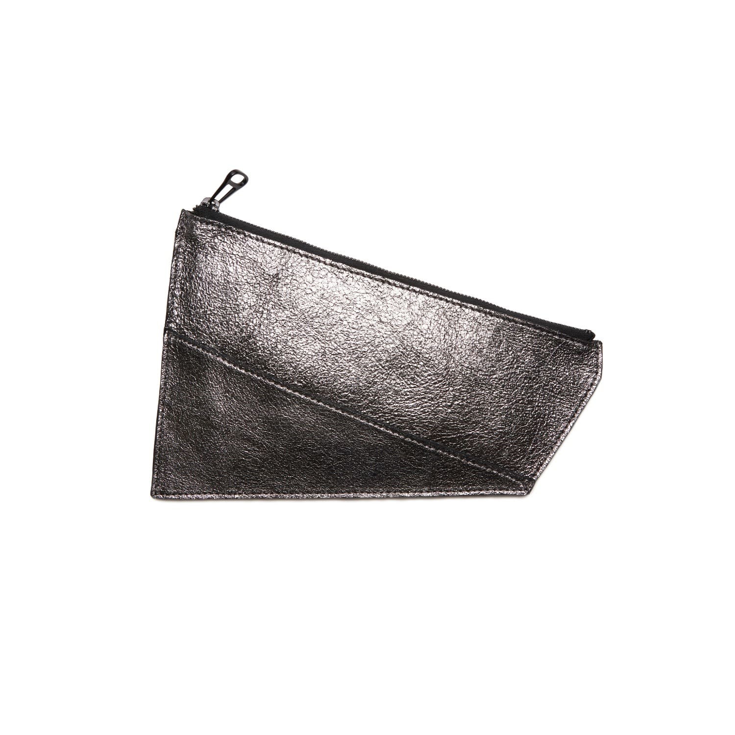 Leather Pouch Anthracite Metallic