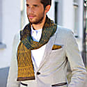 Luxurious Knitted Cotton Scarf With Graphical Pattern In Classical Colours Elements - Wood image