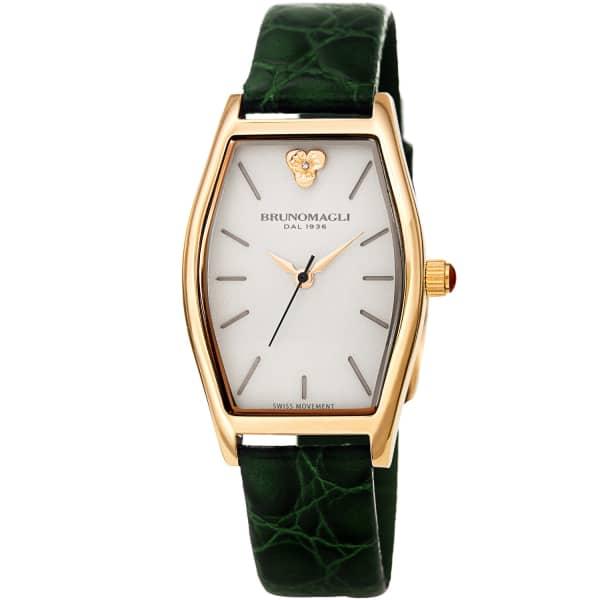 Bruno Magli Bruno Magli Womens Chiara 1261 Tonneau Swiss Quartz Italian Leather Strap Watch
