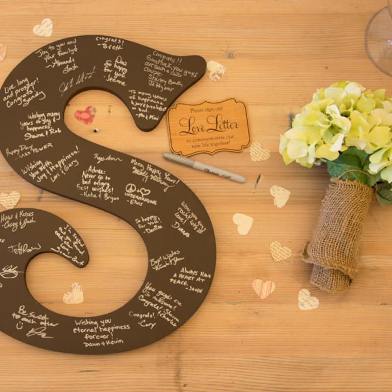 Personalised Splited Monogram Letters Craft Blank Shape Wedding Guestbook MDF 24