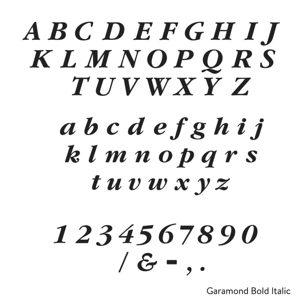 Garamond italic bold