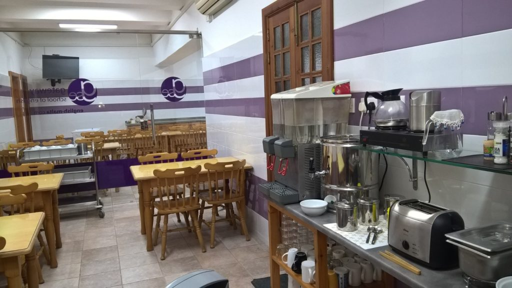 GSE Malta Adult Residence Breakfast room and kitchen for students