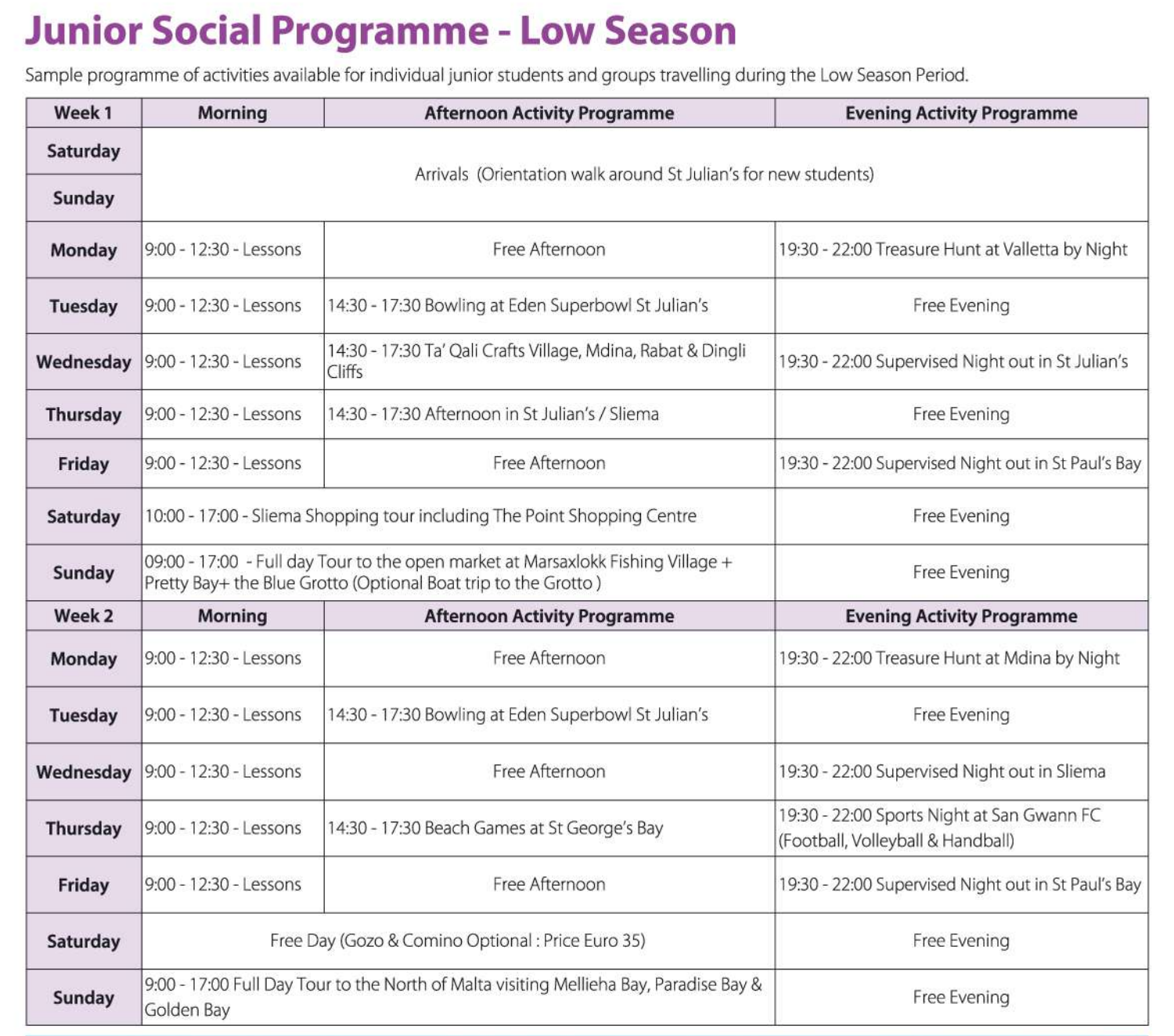 gse junior social programme winter