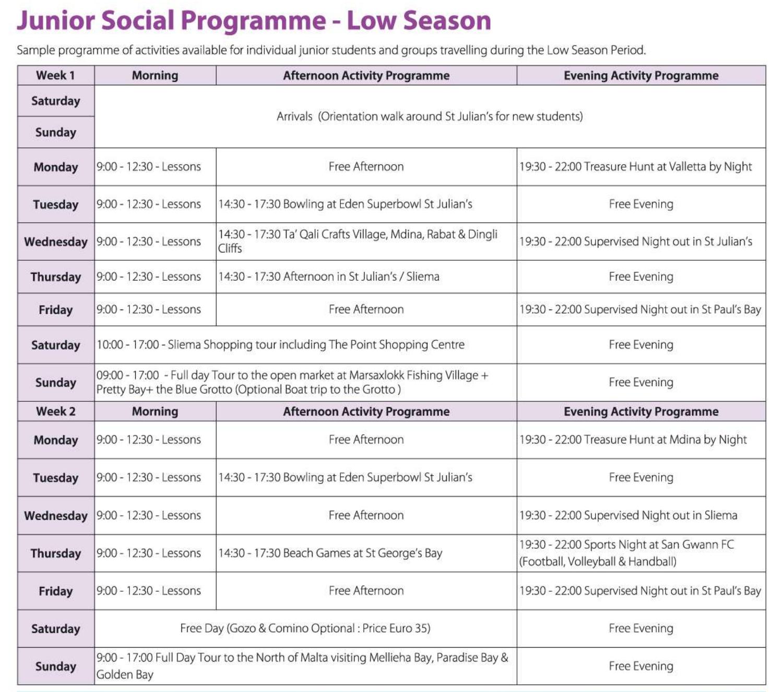 gse junior social programme winter