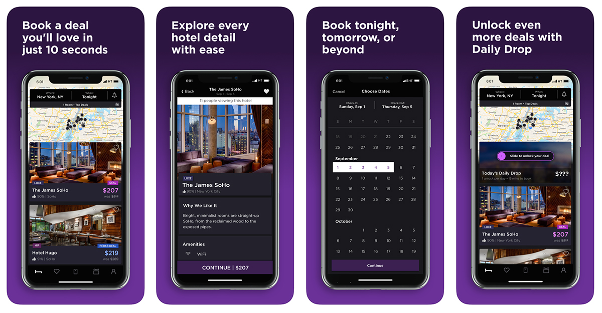 hotel tonight home page capture