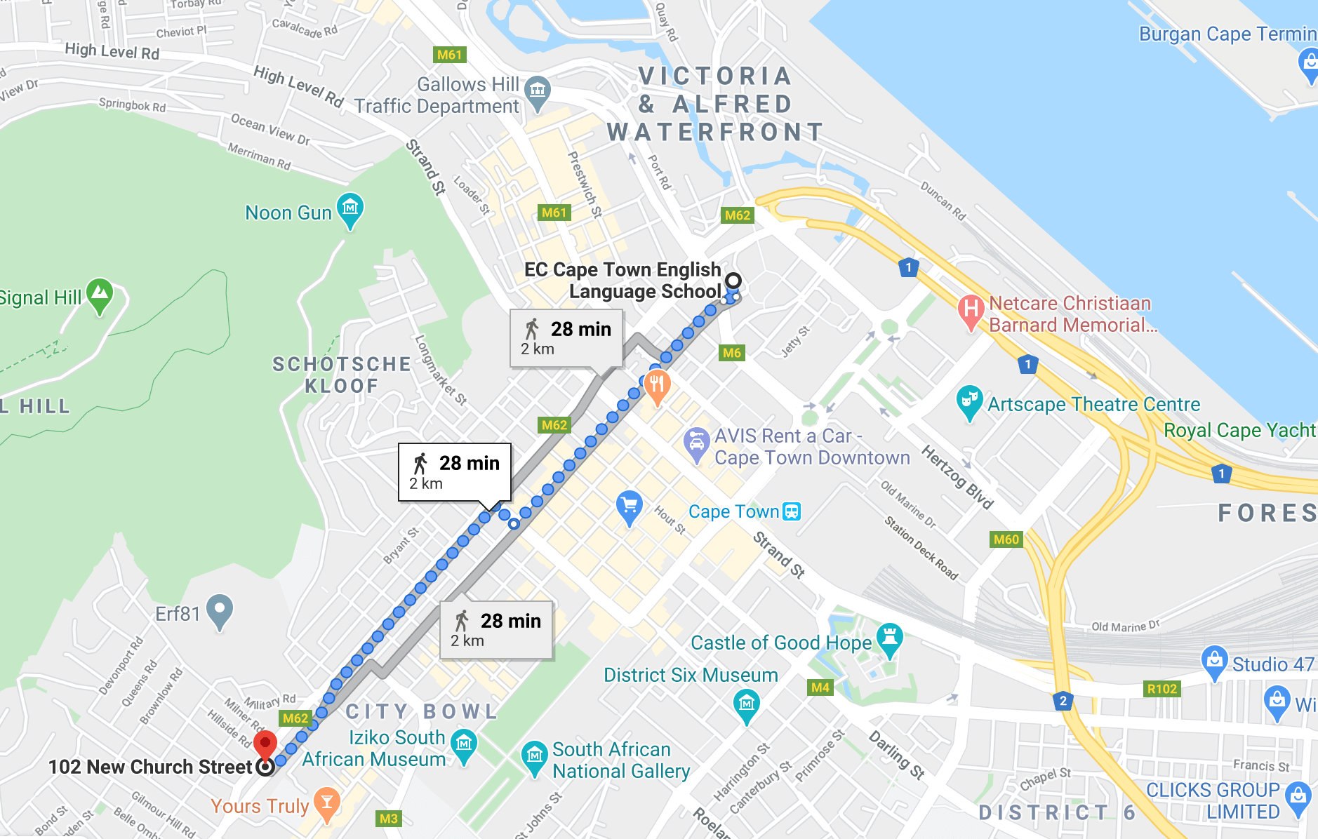 church residence map distance ec school cape town