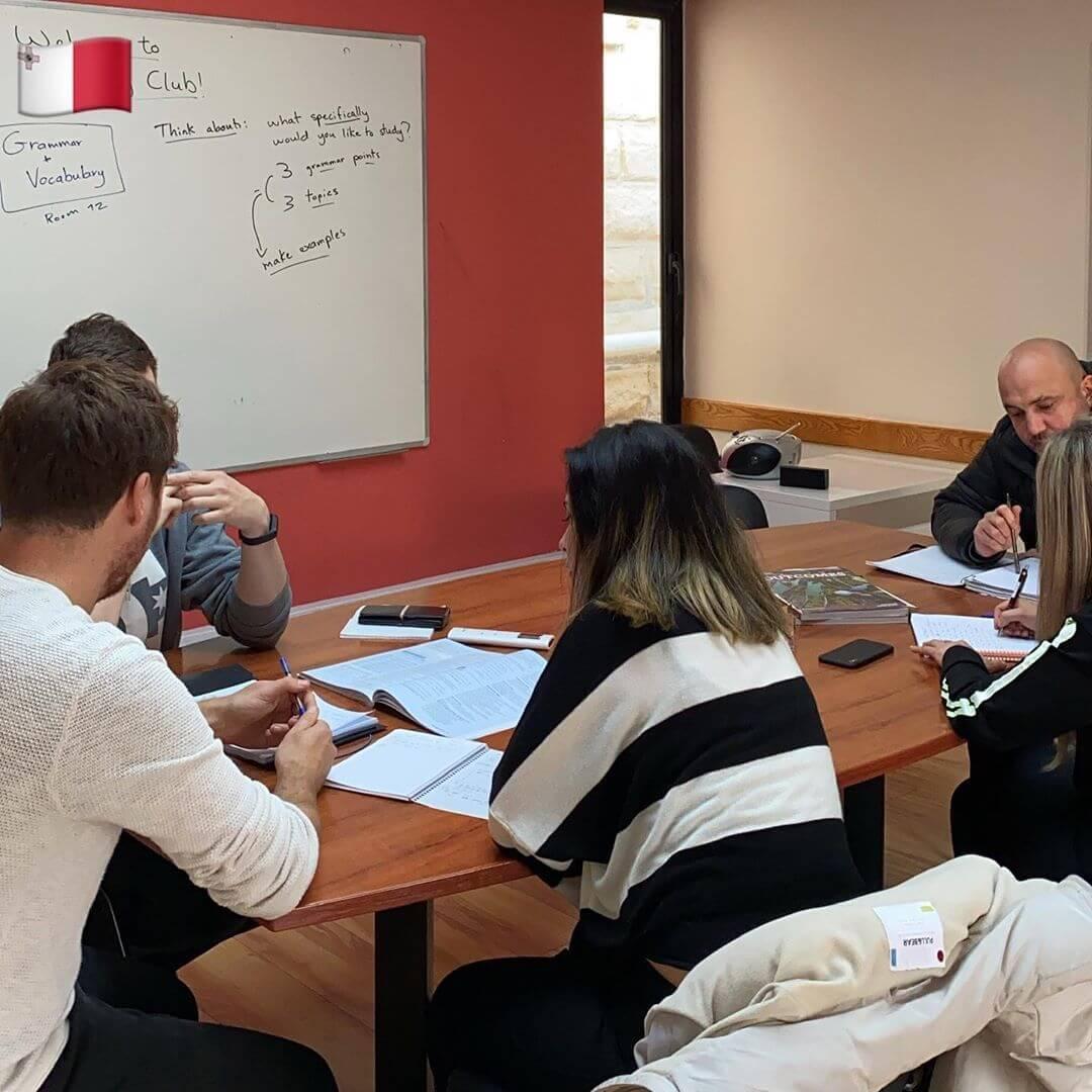 student in classroom sprachcaffe school malta