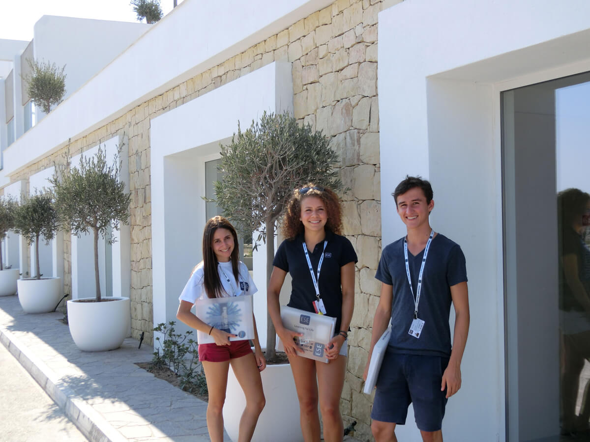 teens outside classroom salini resort malta ese
