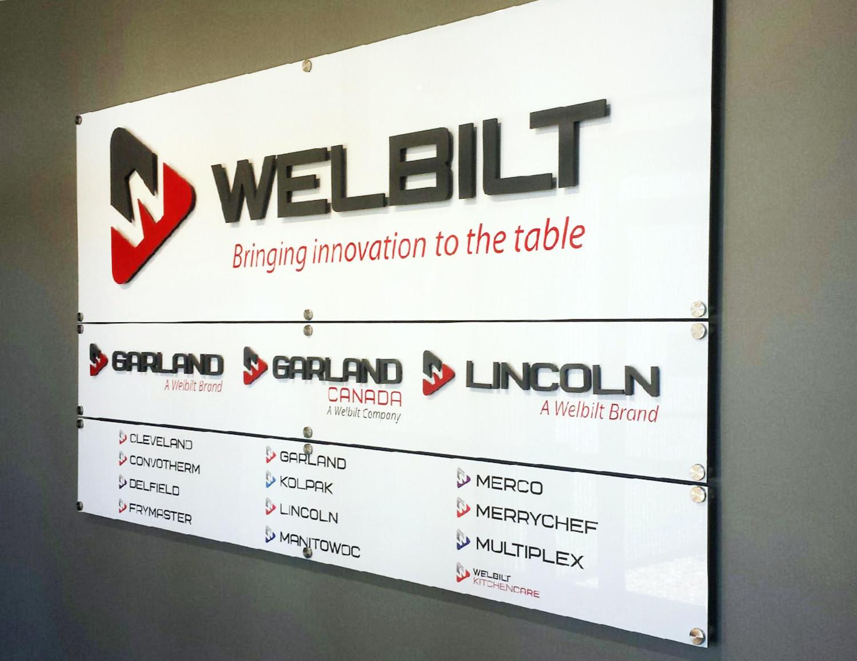Office Reception Signs: Brushed Aluminum, Polished Acrylic