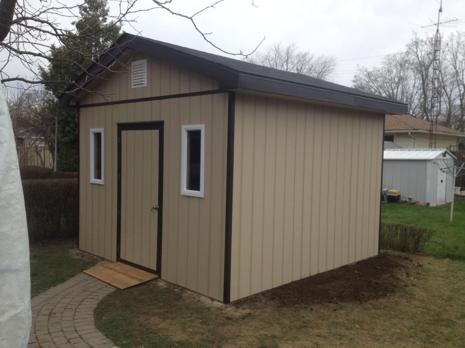 ... 12x12 Garden Shed. Hardy Panel Exterior With Shingled Roof.