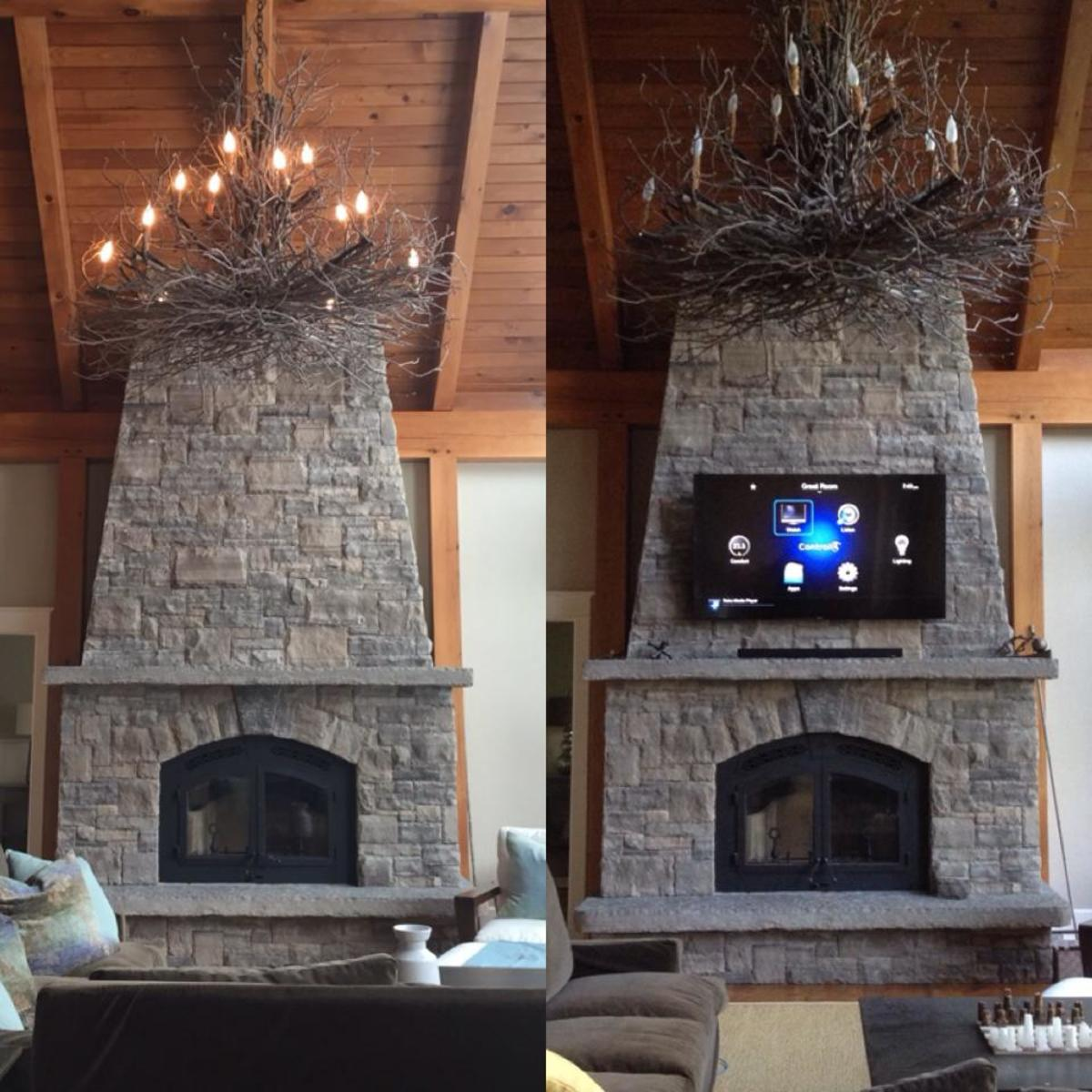 Stone Fireplace With No Previous Cabling Now Wired And Has A 70 Tv Mounted