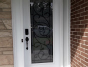 Door with full lite, wrought iron detail