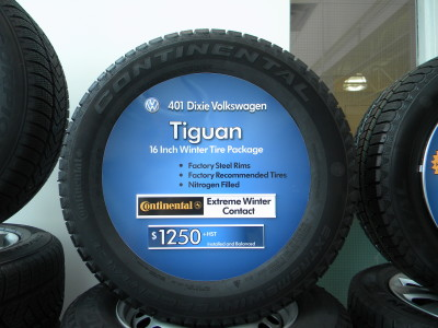 Custom tire insert signs, Mississauga, Ontario.