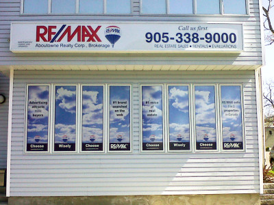 Real Estate agent perforated window graphics, Oakville, Ontario.