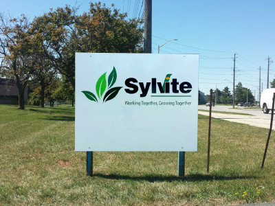 Post and panel ground sign for Sylvite Burlington On.