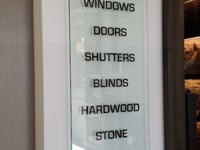 Glass display sign on stand-offs, Oakville, Ontario.