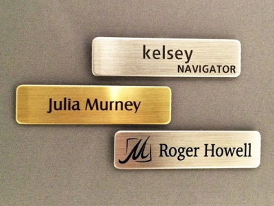 Engraved name tags.