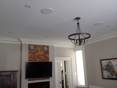 Family Room with in-ceiling speakers