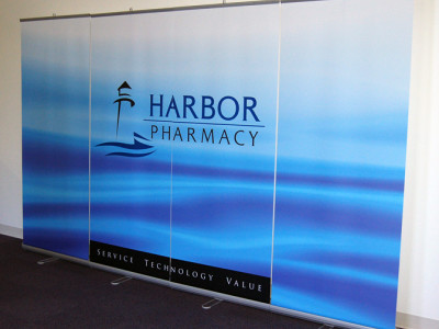 Retractable banner wall.