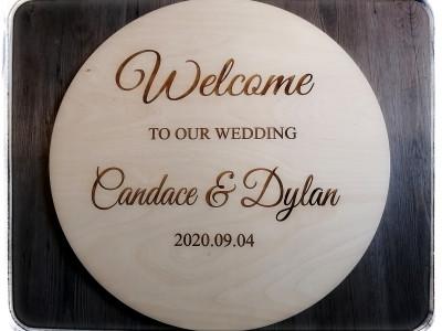 Laser engraved wooden wedding sign.