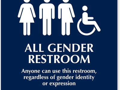 All gender restroom sign with braille.