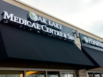 Medical centre sign in Oakville, On. Front lit channel letters.