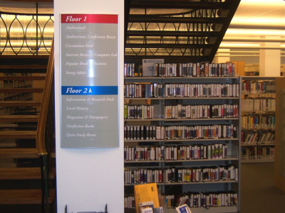 Library directory sign.