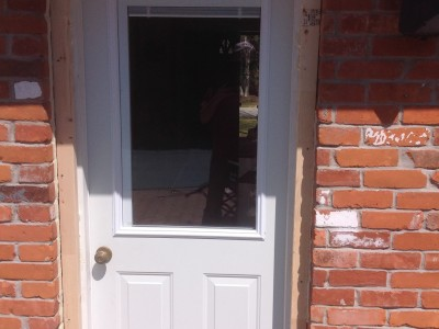 New extrior door installed, flashing and painting of door still to be done