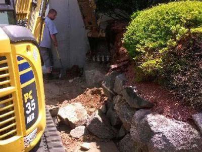During - Stone retaining wall (Woburn, MA)