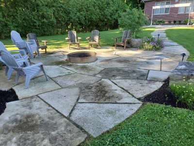 Oversize flagstone fire-pit and walkway
