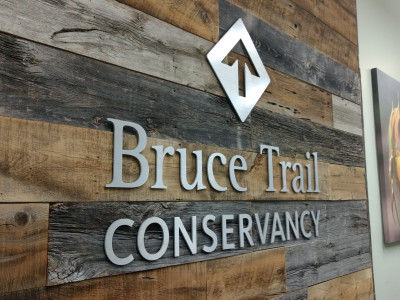 3 dimensional aluminum logo for the Bruce trail conservancy.