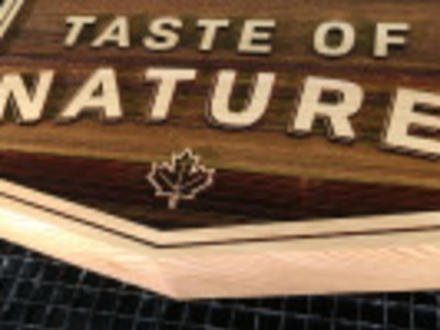 Laser engraved custom cedar wood sign, Oakville Ontario.