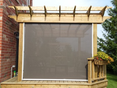 Pergola side shade from the outside...privacy and 80% UV block