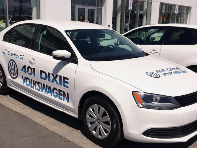 VW loaner vehicle graphics, Mississauga, Ontario.
