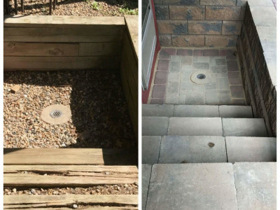 Before and after - Stairs going into a basement