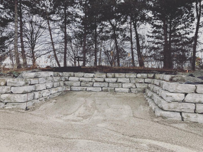 Large Armour rocks provide texture to any retaining wall project
