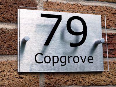 Contemporary house number sign.