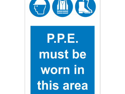 Aluminum PPE signs.