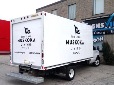 Cube van lettering for Muskoka Living store.