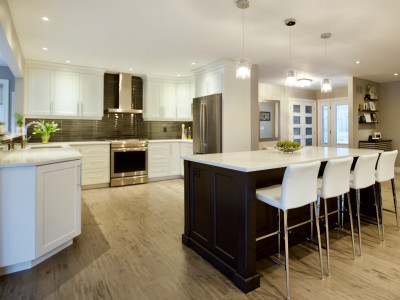 Contemporary, open concept kitchen LR and DR