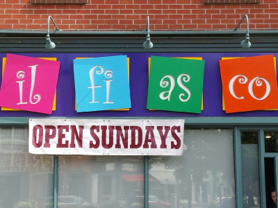 Wood cut 3 dimensional sign, painted with one shot paints. The old fashioned way. Installed in Dundas, Ontario.