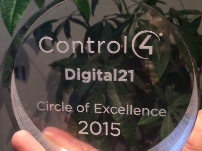 2015 Control4 Dealer Circle of Excellence Award.  Recognizing outstanding customer relations and workmanship.