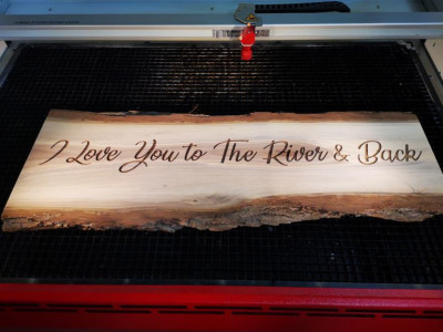 """Personalized laser engraved live edge walnut wood board 32"""""""