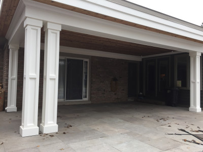 Pavilion, post and Beam clad and built out with Versatex PVC mouldings.