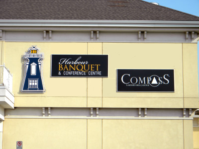 Aluminum composite material in aluminum sign frame, Bronte, Oakville, ON.