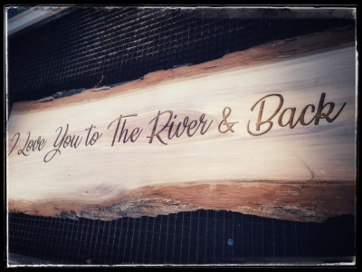 Personalised wooden sign board, live edge walnut, laser engraved, Ontario Canada